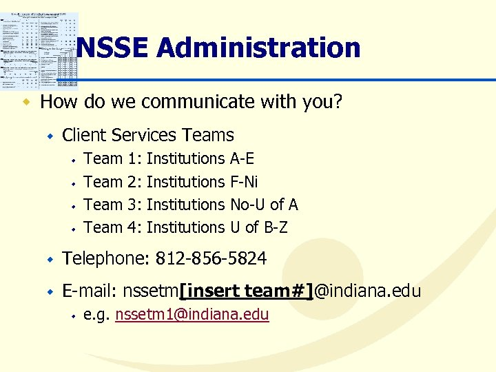 NSSE Administration w How do we communicate with you? w Client Services Teams w