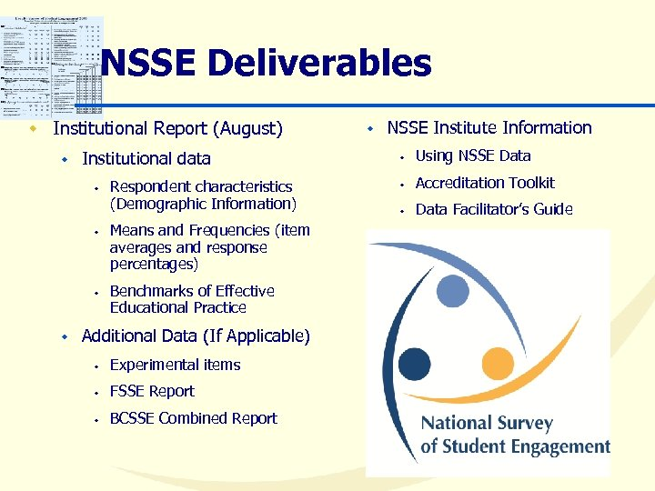 NSSE Deliverables w Institutional Report (August) w Institutional data w w Respondent characteristics (Demographic