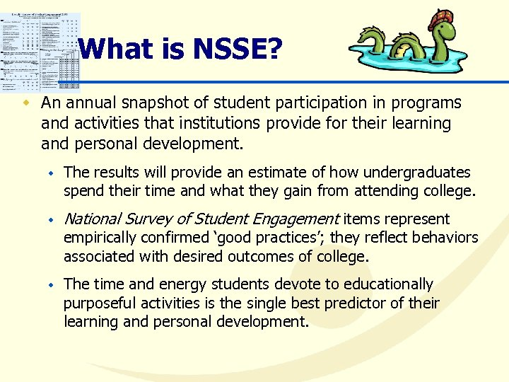 What is NSSE? w An annual snapshot of student participation in programs and activities