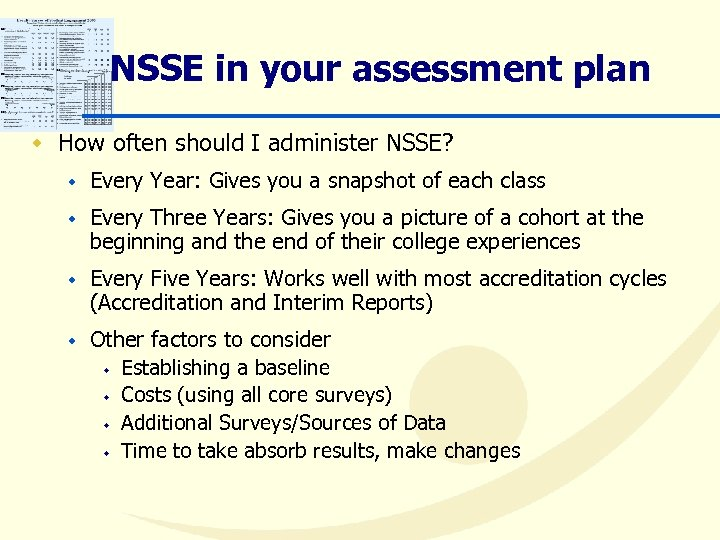 NSSE in your assessment plan w How often should I administer NSSE? w Every