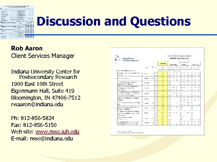 Discussion and Questions Rob Aaron Client Services Manager Indiana University Center for Postsecondary Research