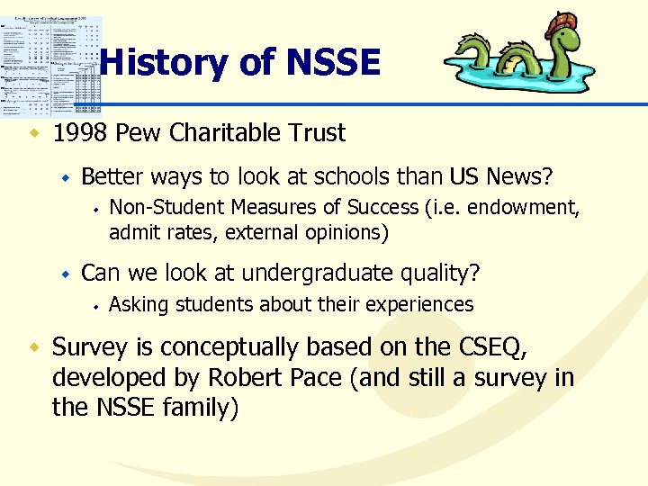 History of NSSE w 1998 Pew Charitable Trust w Better ways to look at