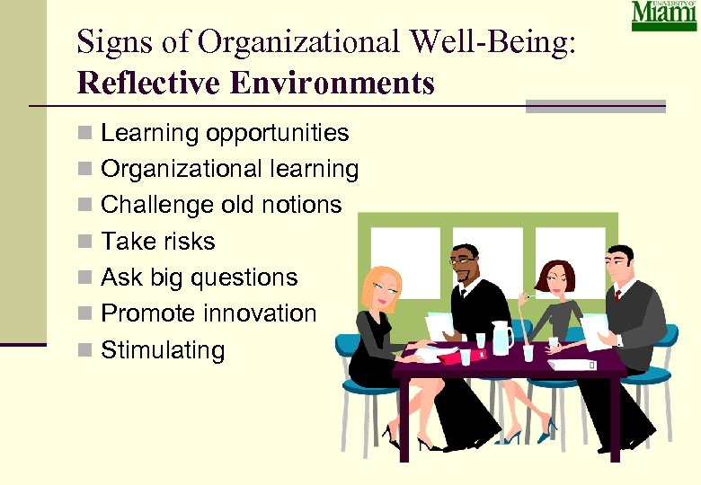 Signs of Organizational Well-Being: Reflective Environments n Learning opportunities n Organizational learning n Challenge
