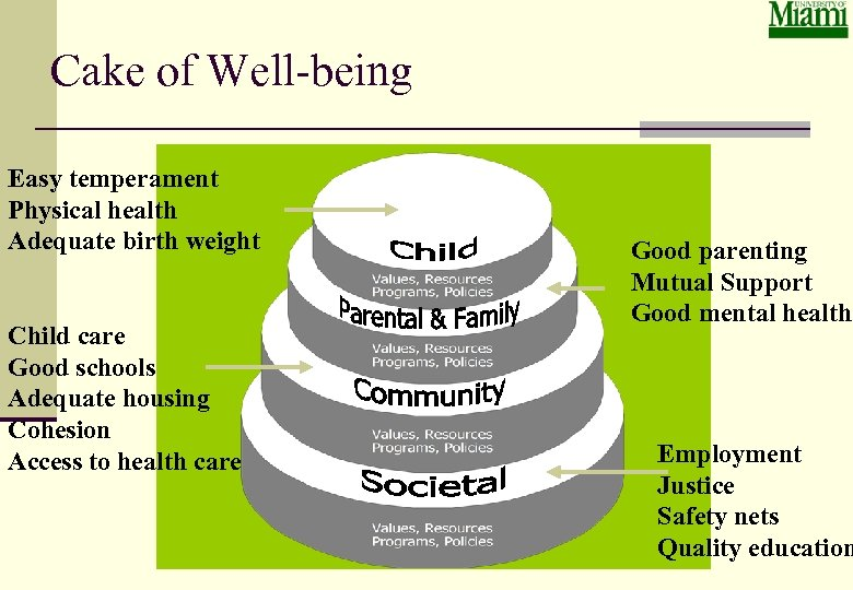 Cake of Well-being Easy temperament Physical health Adequate birth weight Child care Good schools