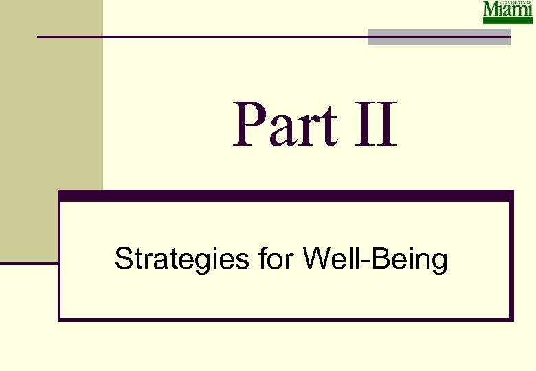 Part II Strategies for Well-Being