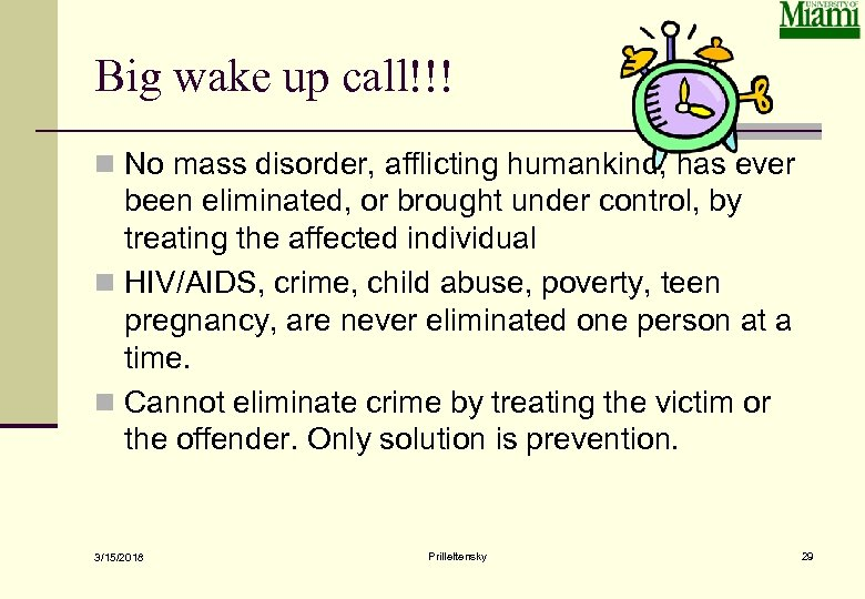 Big wake up call!!! n No mass disorder, afflicting humankind, has ever been eliminated,