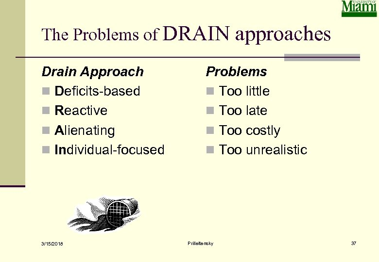 The Problems of DRAIN approaches Drain Approach n Deficits-based n Reactive n Alienating n