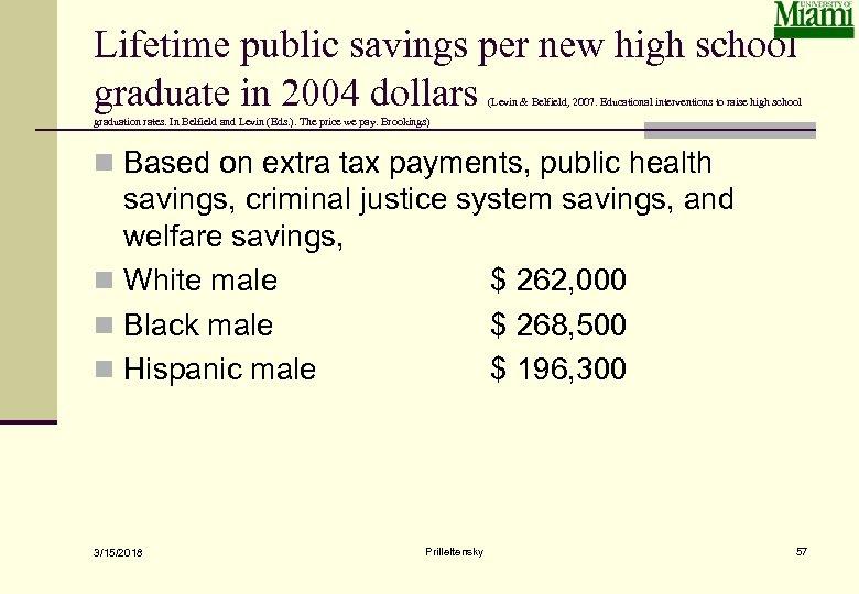 Lifetime public savings per new high school graduate in 2004 dollars (Levin & Belfield,