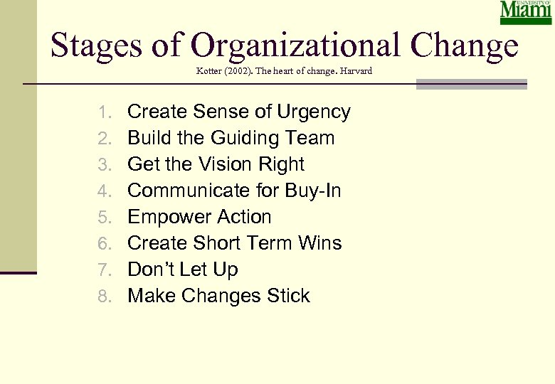 Stages of Organizational Change Kotter (2002). The heart of change. Harvard 1. 2. 3.