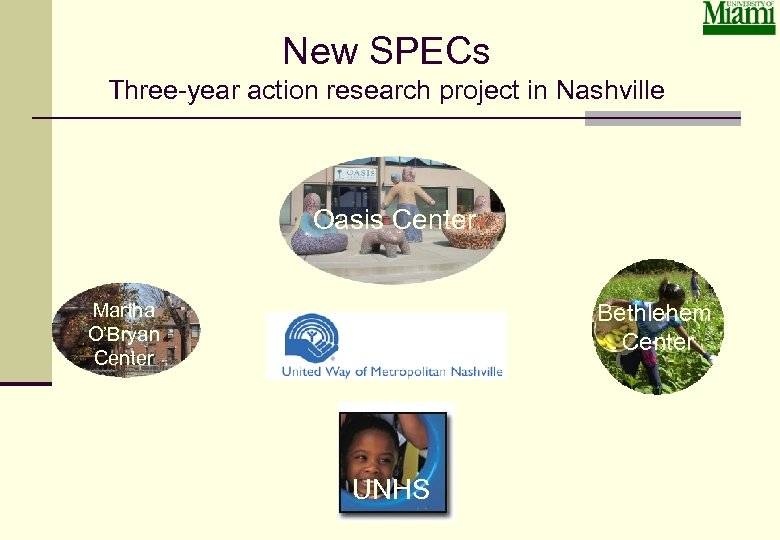 New SPECs Three-year action research project in Nashville Oasis Center Martha O'Bryan Center Bethlehem
