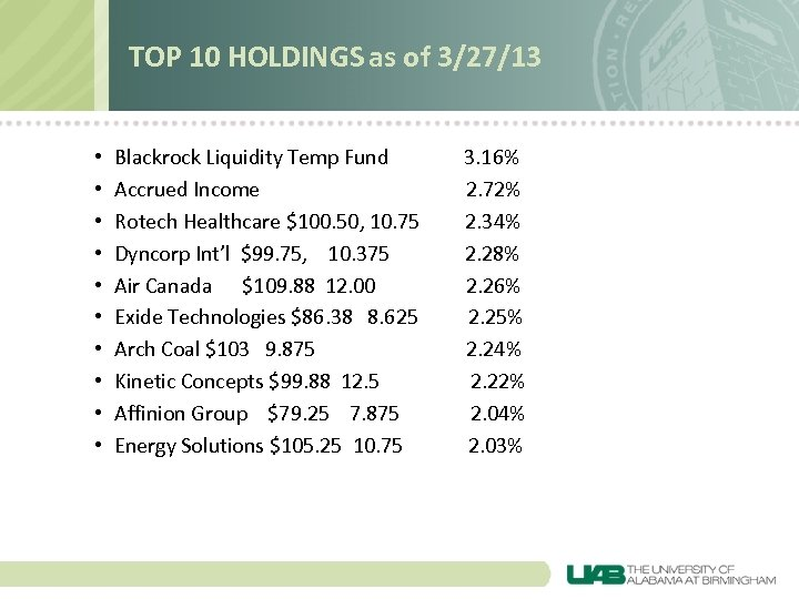 TOP 10 HOLDINGS as of 3/27/13 • • • Blackrock Liquidity Temp Fund Accrued