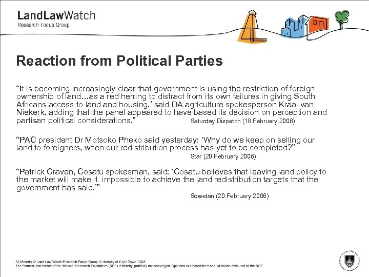 """Reaction from Political Parties """"It is becoming increasingly clear that government is using the"""
