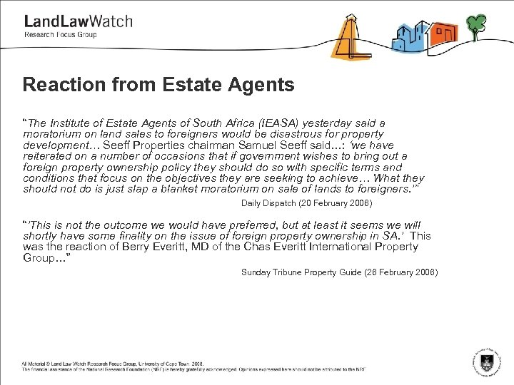 """Reaction from Estate Agents """"The Institute of Estate Agents of South Africa (IEASA) yesterday"""