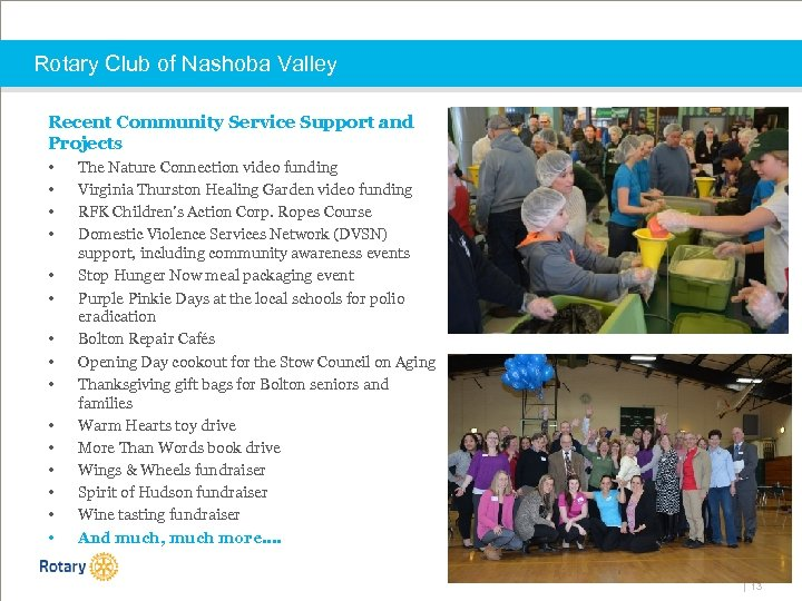 Rotary Club of Nashoba Valley Recent Community Service Support and Projects • • •
