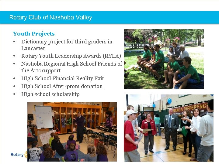 Rotary Club of Nashoba Valley Youth Projects • Dictionary project for third graders in
