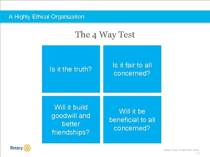 A Highly Ethical Organization The 4 Way Test Is it the truth? Is it