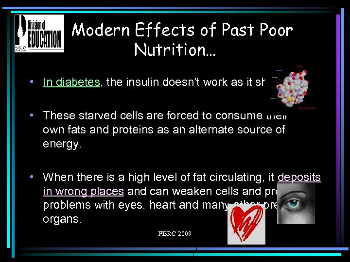Modern Effects of Past Poor Nutrition… • In diabetes, the insulin doesn't work as