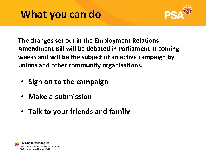 What you can do The changes set out in the Employment Relations Amendment Bill