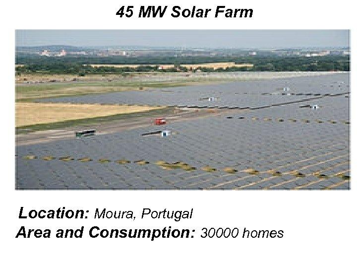 45 MW Solar Farm Location: Moura, Portugal Area and Consumption: 30000 homes