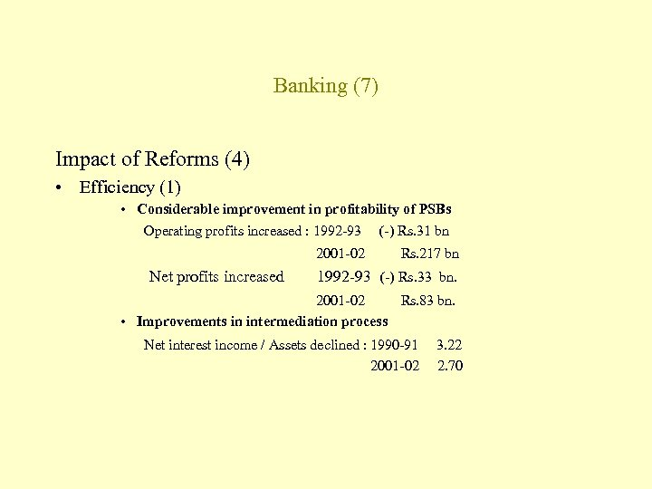 Banking (7) Impact of Reforms (4) • Efficiency (1) • Considerable improvement in profitability