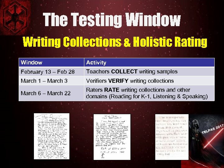 The Testing Window Writing Collections & Holistic Rating Window Activity February 13 – Feb