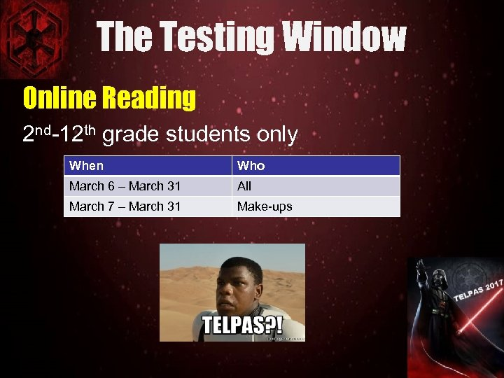 The Testing Window Online Reading 2 nd-12 th grade students only When Who March