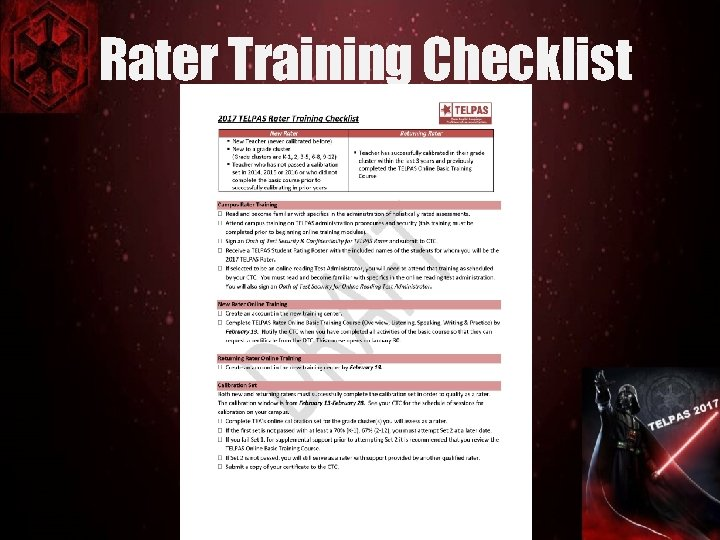 Rater Training Checklist