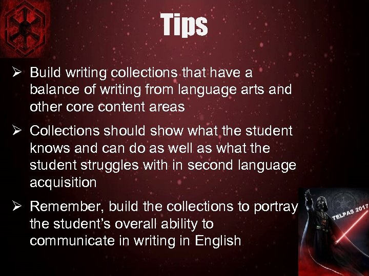 Tips Ø Build writing collections that have a balance of writing from language arts