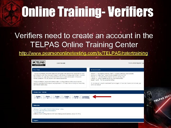Online Training- Verifiers need to create an account in the TELPAS Online Training Center