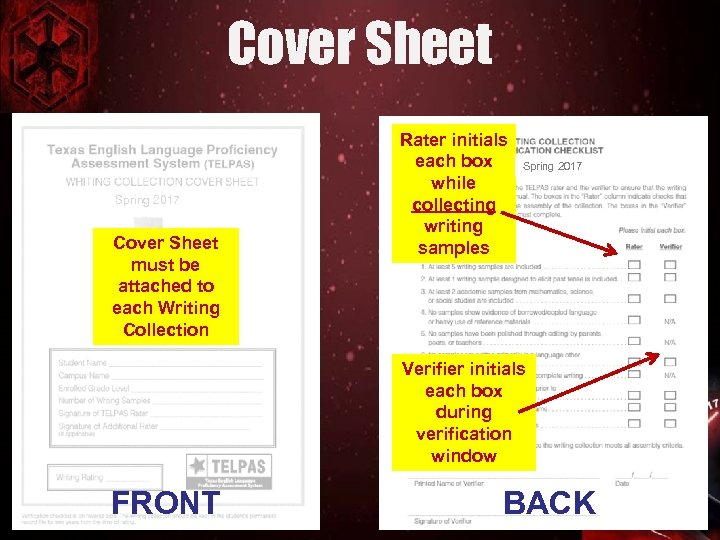 Cover Sheet Spring 2017 Cover Sheet must be attached to each Writing Collection Rater