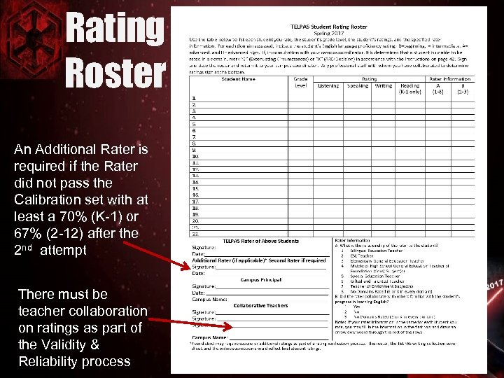 Rating Roster An Additional Rater is required if the Rater did not pass the