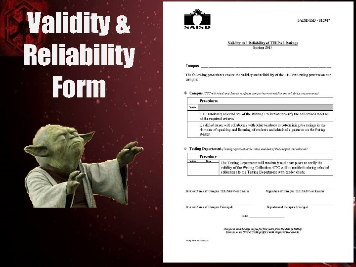 Validity & Reliability Form