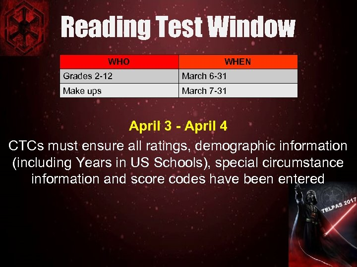 Reading Test Window WHO WHEN Grades 2 -12 March 6 -31 Make ups March
