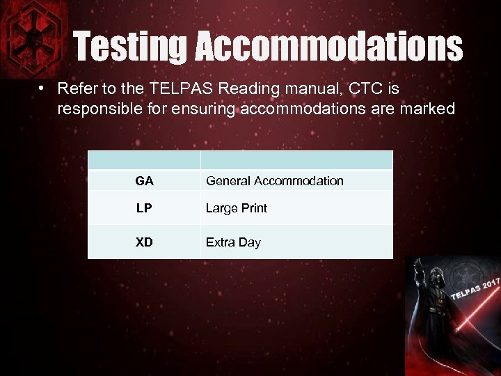 Testing Accommodations • Refer to the TELPAS Reading manual, CTC is responsible for ensuring