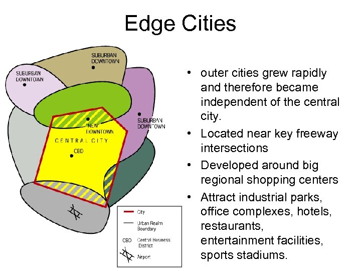Edge Cities • outer cities grew rapidly and therefore became independent of the central