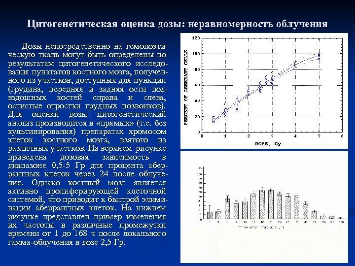 Цитогенетическая оценка дозы: неравномерность облучения Дозы непосредственно на гемопоэтическую ткань могут быть определены по