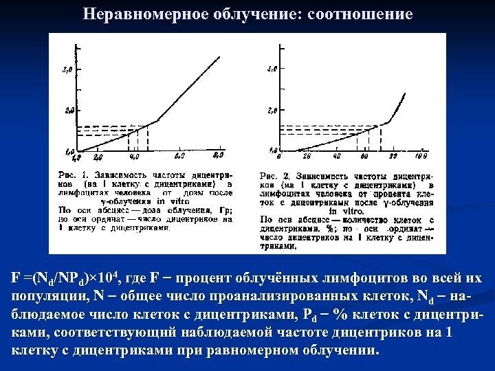 Неравномерное облучение: соотношение F =(Nd/NPd)× 104, где F процент облучённых лимфоцитов во всей их