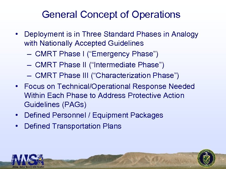 General Concept of Operations • Deployment is in Three Standard Phases in Analogy with