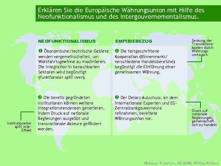 Erklären Sie die Europäische Währungsunion mit Hilfe des Neofunktionalismus und des Intergouvernementalismus. NEOFUNKTIONALISMUS Ökonomische/technische