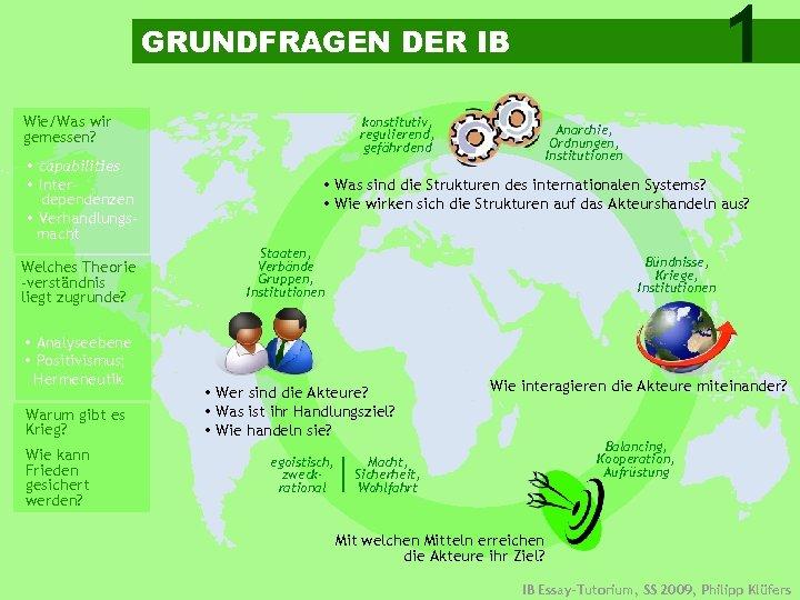 1 GRUNDFRAGEN DER IB Wie/Was wir gemessen? capabilities Interdependenzen Verhandlungsmacht Welches Theorie -verständnis liegt