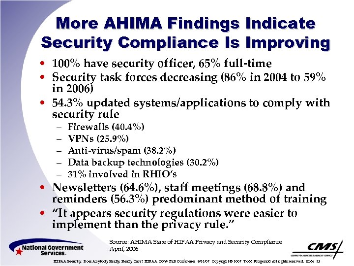 More AHIMA Findings Indicate Security Compliance Is Improving • 100% have security officer, 65%
