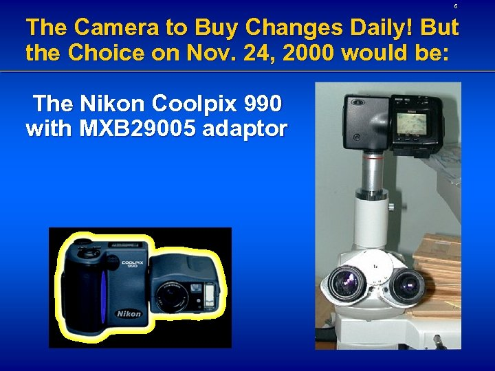 6 The Camera to Buy Changes Daily! But the Choice on Nov. 24, 2000