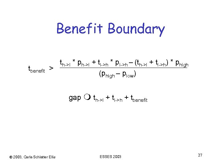Benefit Boundary tbenefit th->l * ph->l + tl->h * pl->h – (th->l + tl->h)