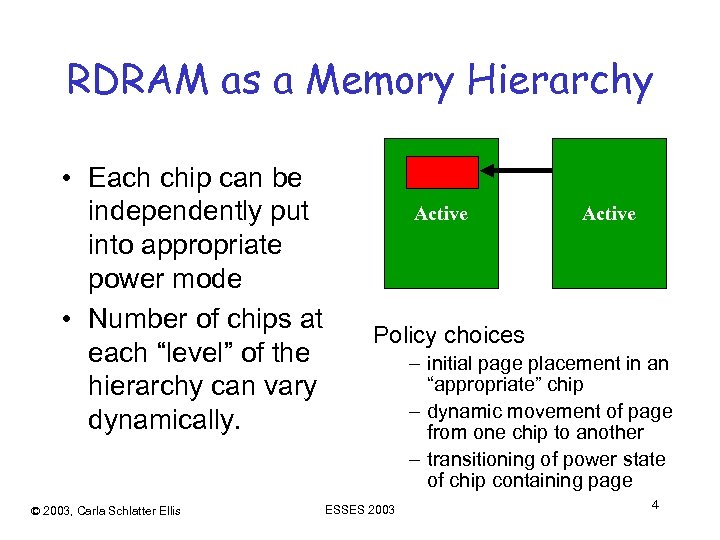RDRAM as a Memory Hierarchy • Each chip can be independently put into appropriate