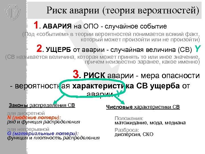Риск аварии (теория вероятностей) 1. АВАРИЯ на ОПО - случайное событие (Под «событием» в