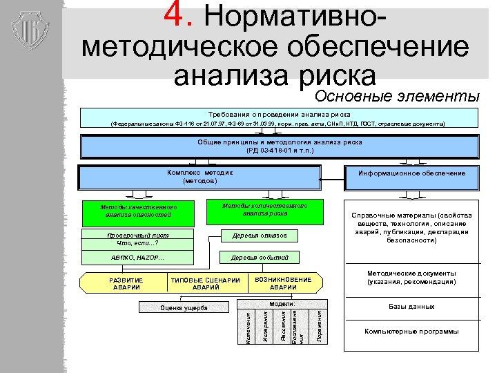 4. Нормативно- методическое обеспечение анализа риска Основные элементы Требования о проведении анализа риска (Федеральные