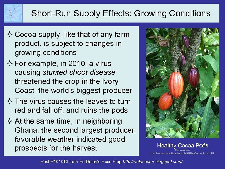 Short-Run Supply Effects: Growing Conditions ² Cocoa supply, like that of any farm product,