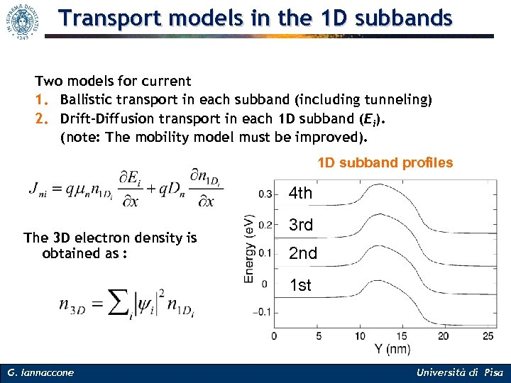 Transport models in the 1 D subbands Two models for current 1. Ballistic transport