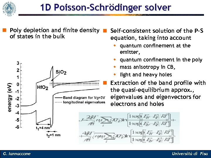 1 D Poisson-Schrödinger solver n Poly depletion and finite density n Self-consistent solution of