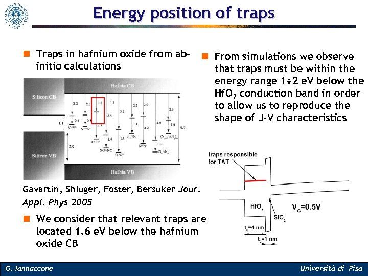 Energy position of traps n Traps in hafnium oxide from ab- n From simulations